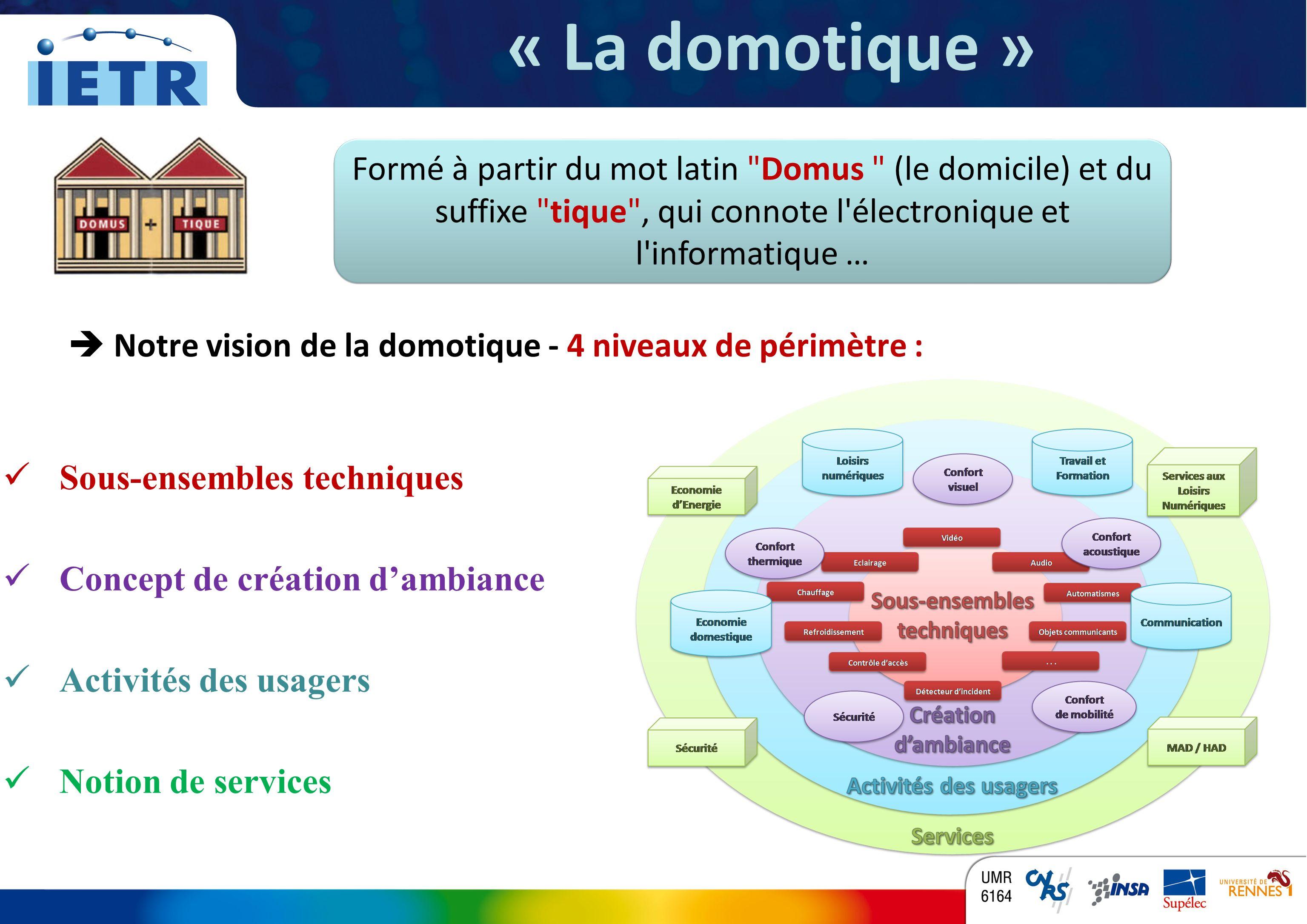 « La domotique » Formé à partir du mot latin Domus (le domicile) et du suffixe tique , qui connote l électronique et l informatique …
