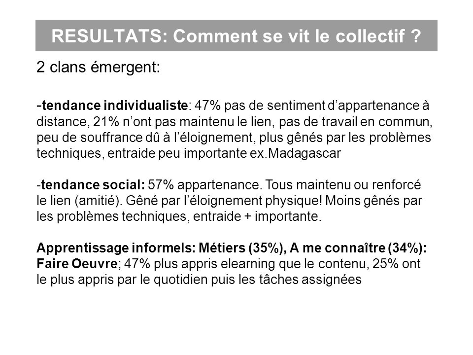 RESULTATS: Comment se vit le collectif