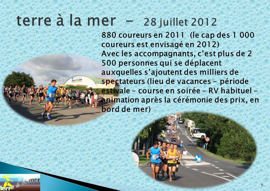 terre à la mer - 28 juillet 2012 880 coureurs en 2011 (le cap des 1 000 coureurs est envisagé en 2012)