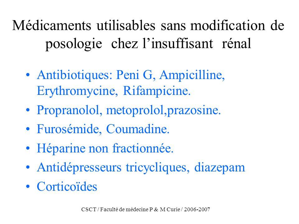 CSCT / Faculté de médecine P & M Curie / 2006-2007