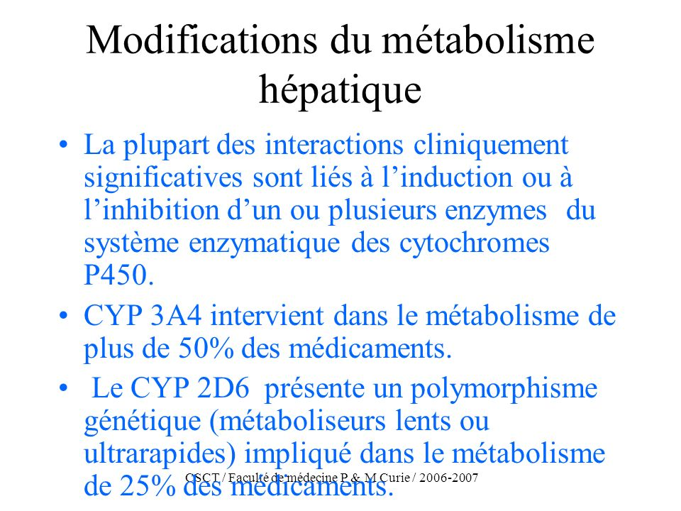 Modifications du métabolisme hépatique