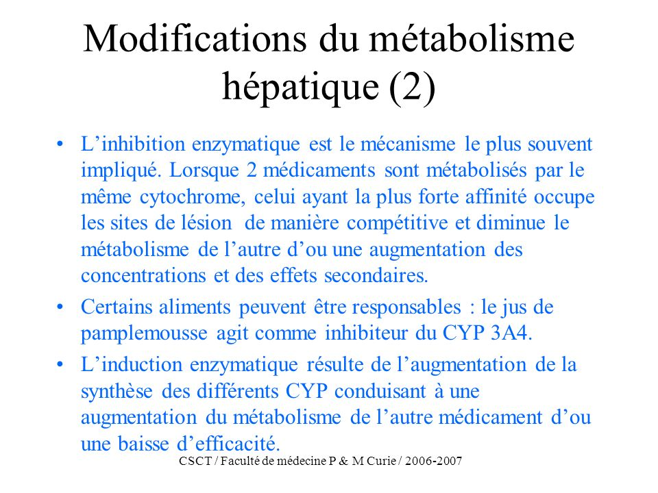 Modifications du métabolisme hépatique (2)