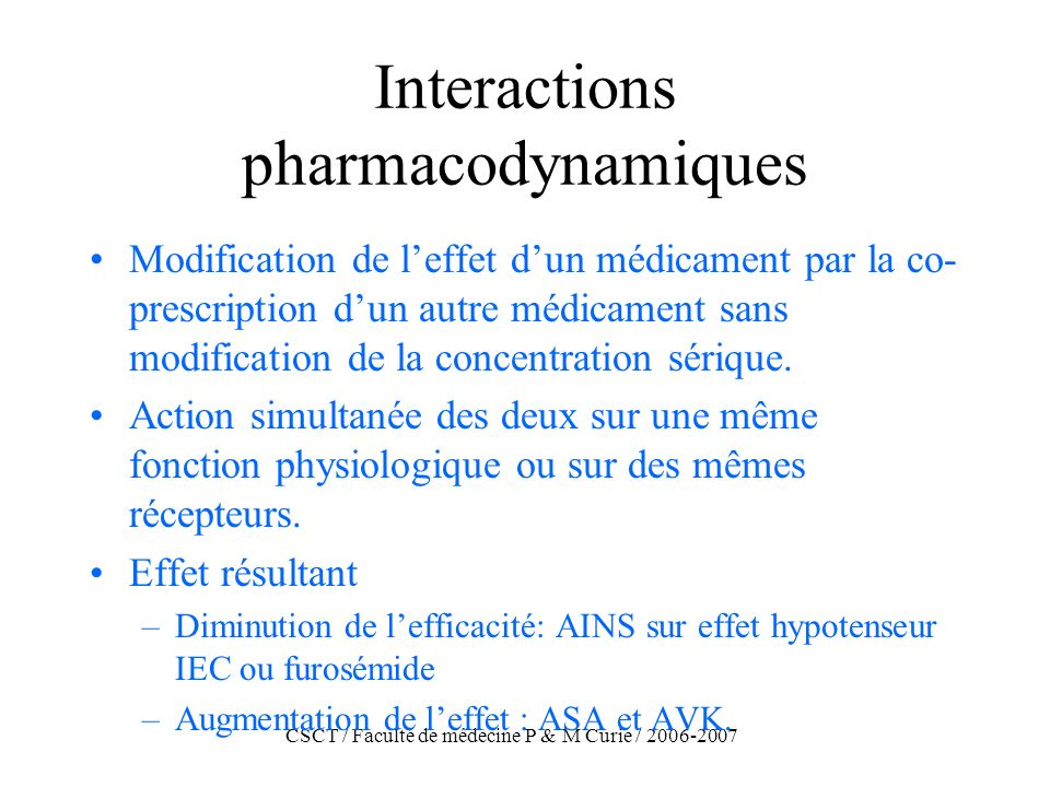 Interactions pharmacodynamiques