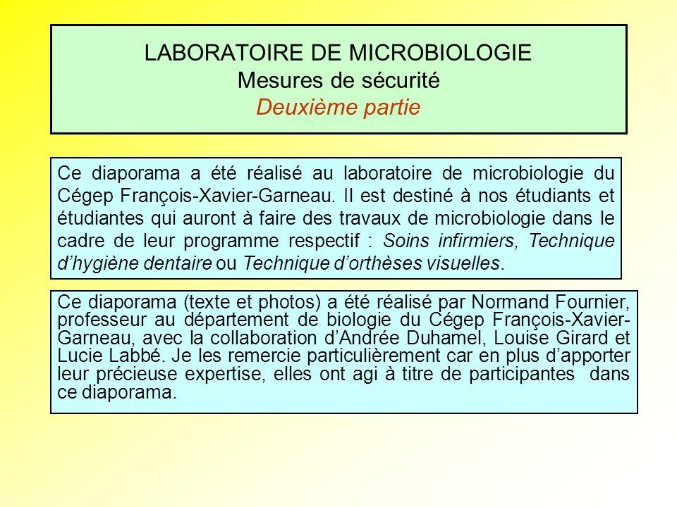 LABORATOIRE DE MICROBIOLOGIE Mesures de sécurité Deuxième partie