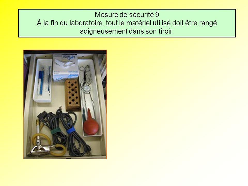 Mesure de sécurité 9 À la fin du laboratoire, tout le matériel utilisé doit être rangé soigneusement dans son tiroir.