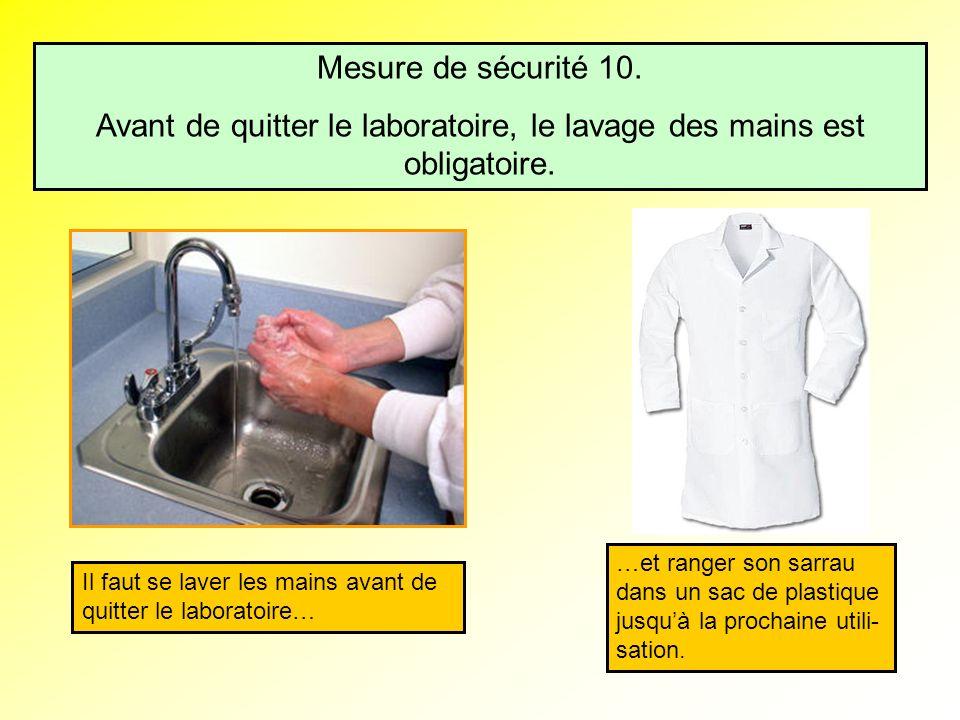 Avant de quitter le laboratoire, le lavage des mains est obligatoire.