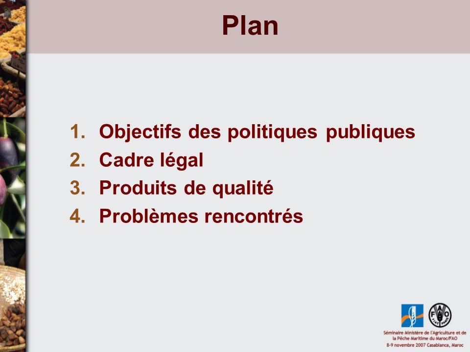 Plan Objectifs des politiques publiques Cadre légal
