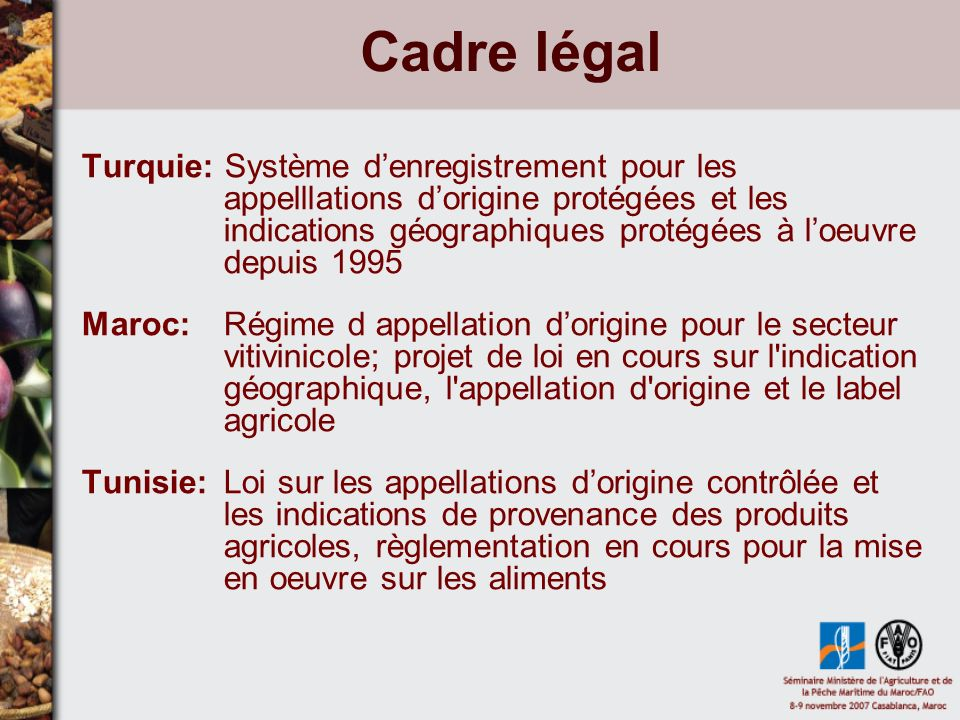 Cadre légal