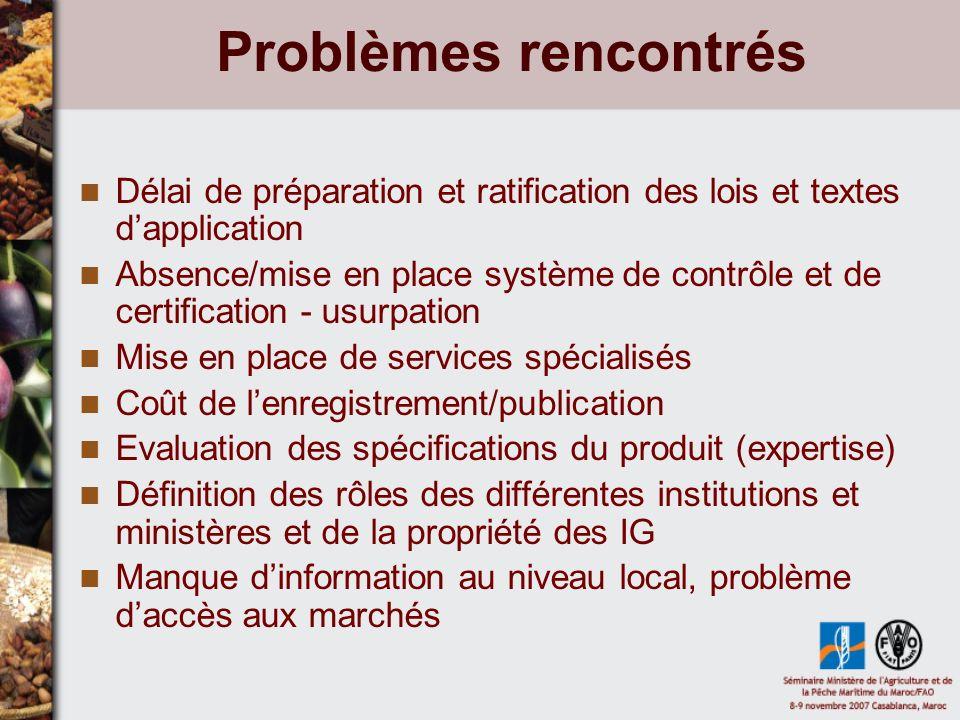 Problèmes rencontrés Délai de préparation et ratification des lois et textes d'application.