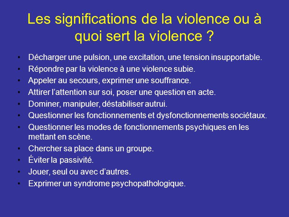 Les significations de la violence ou à quoi sert la violence