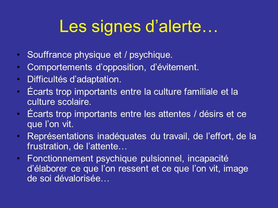 Les signes d'alerte… Souffrance physique et / psychique.
