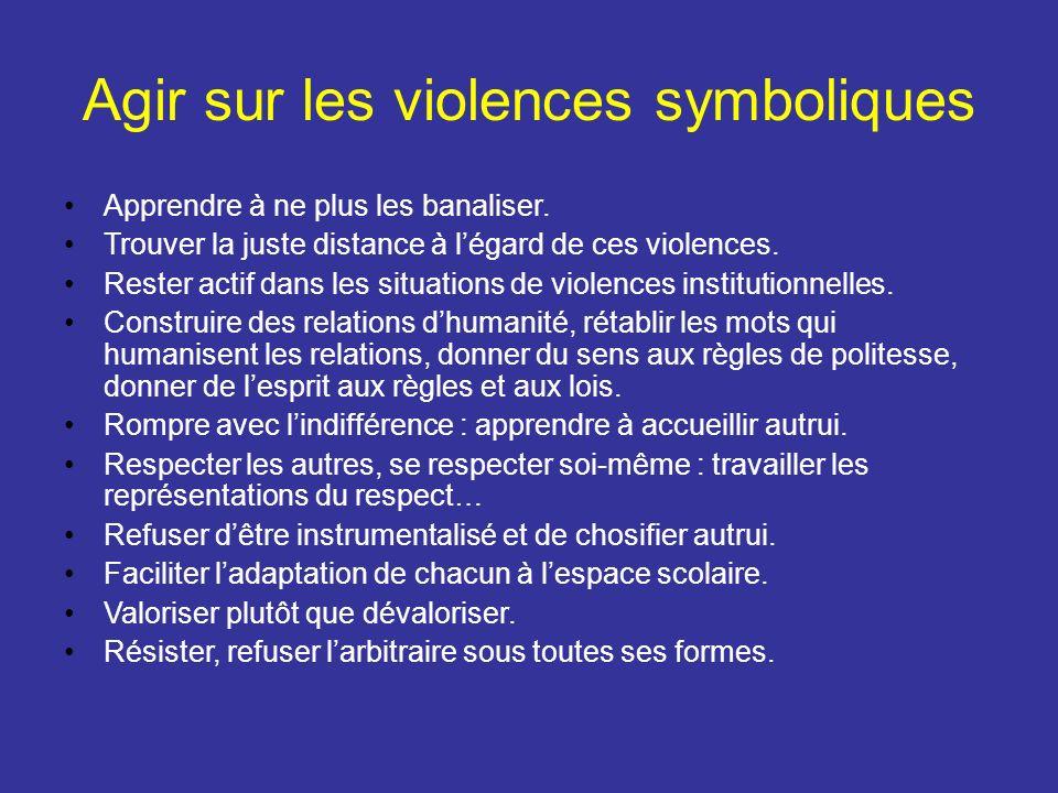Agir sur les violences symboliques