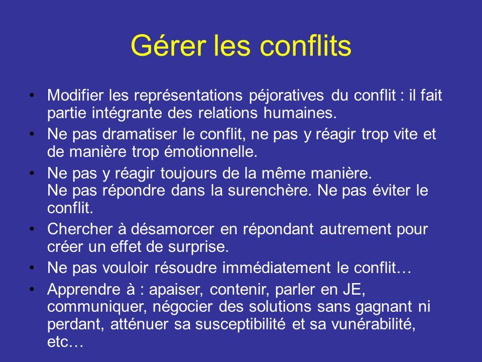 Gérer les conflits Modifier les représentations péjoratives du conflit : il fait partie intégrante des relations humaines.