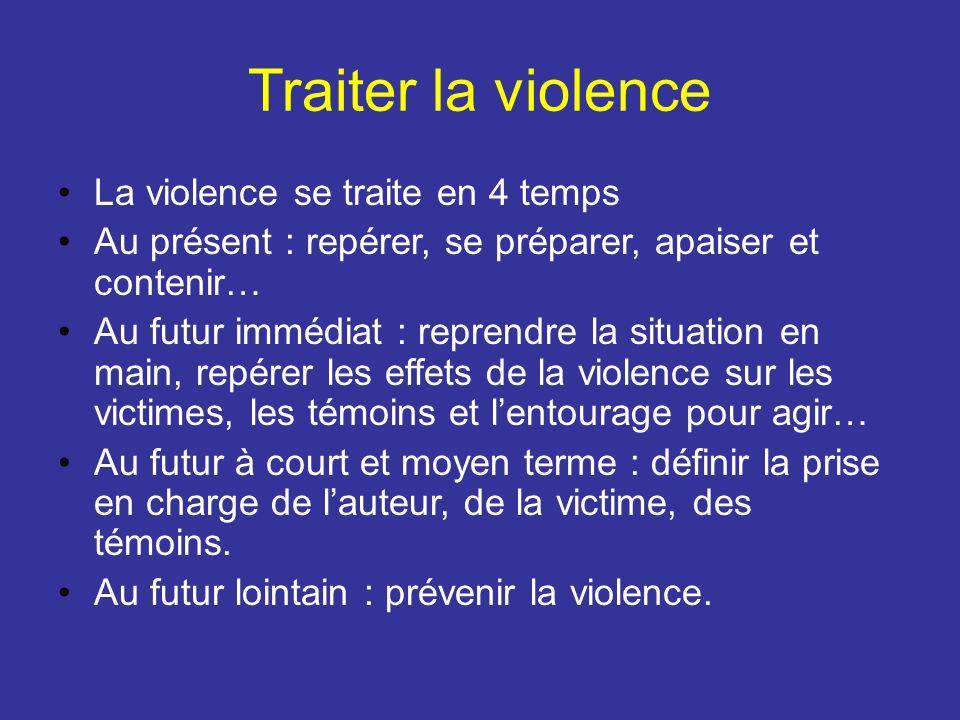 Traiter la violence La violence se traite en 4 temps