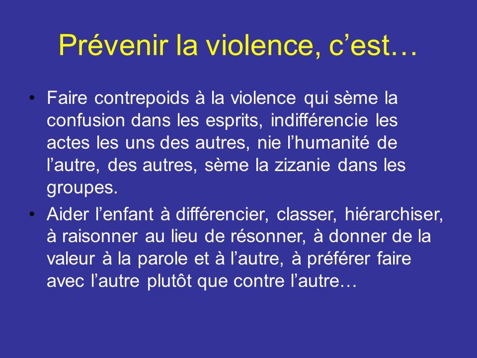Prévenir la violence, c'est…