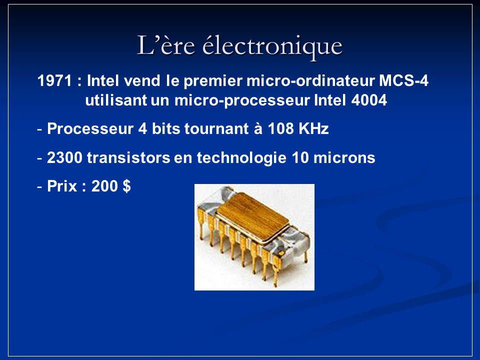 L'ère électronique 1971 : Intel vend le premier micro-ordinateur MCS-4 utilisant un micro-processeur Intel 4004.