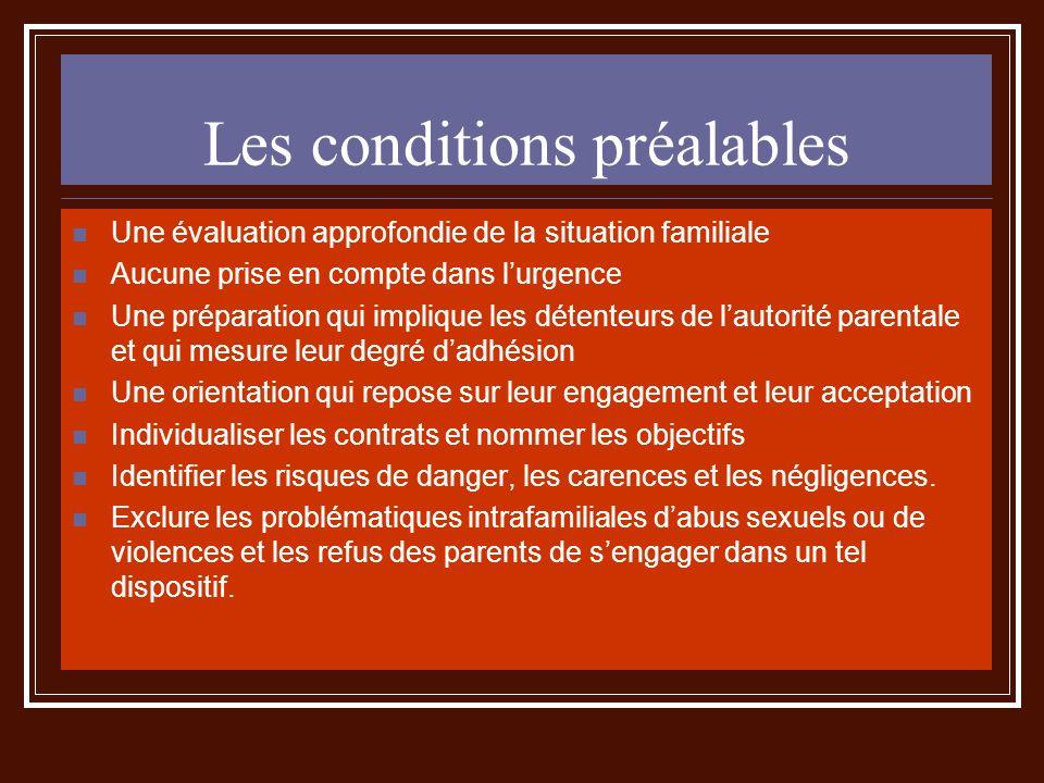 Les conditions préalables