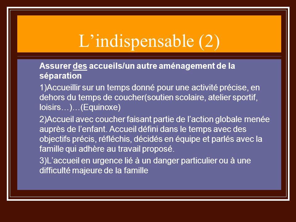 L'indispensable (2) Assurer des accueils/un autre aménagement de la séparation.
