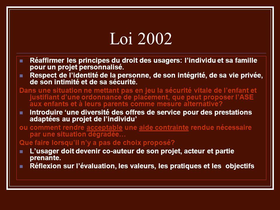 Loi 2002 Réaffirmer les principes du droit des usagers: l'individu et sa famille pour un projet personnalisé.