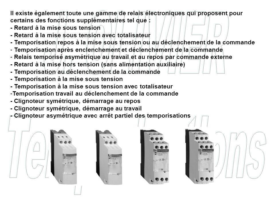 Il existe également toute une gamme de relais électroniques qui proposent pour certains des fonctions supplémentaires tel que :