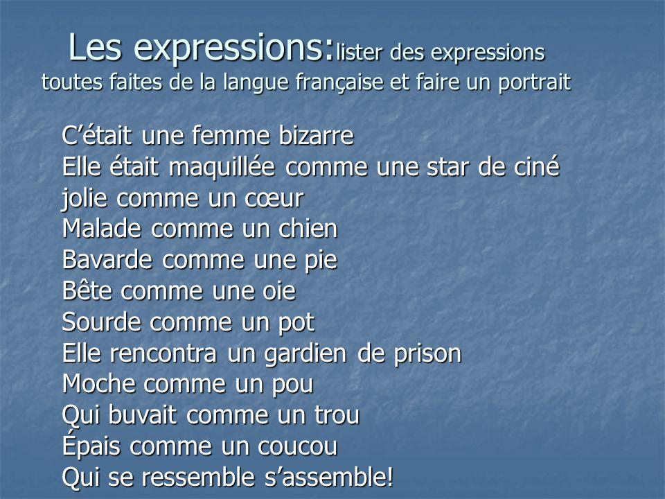 Les expressions:lister des expressions toutes faites de la langue française et faire un portrait