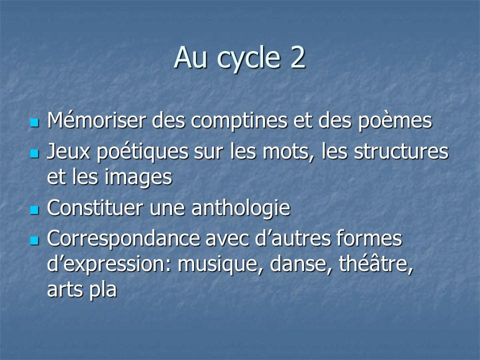 Au cycle 2 Mémoriser des comptines et des poèmes