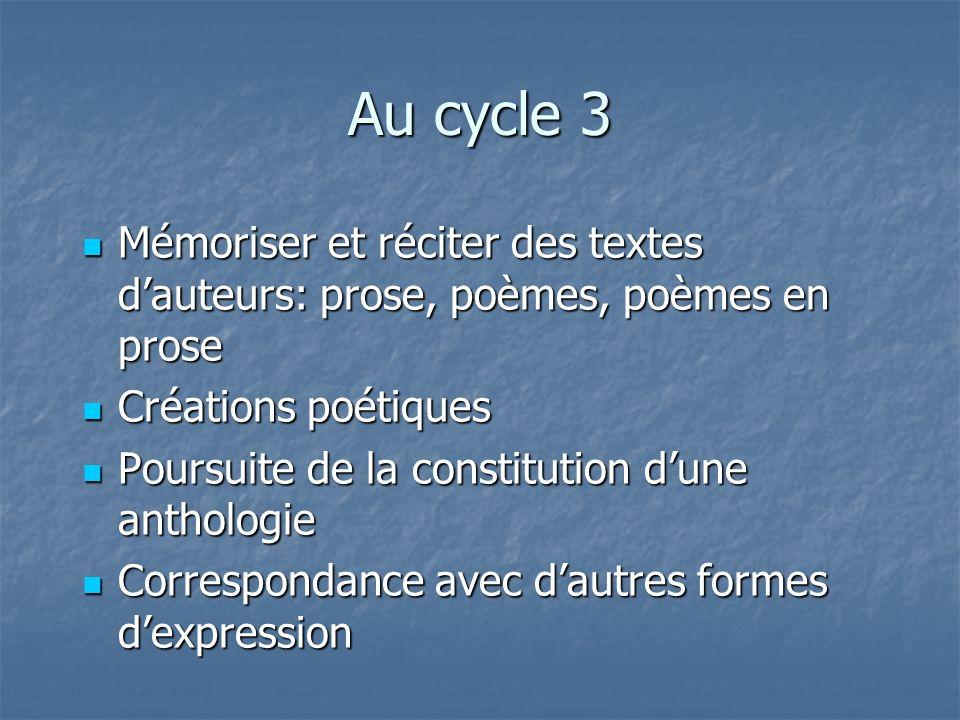 Au cycle 3 Mémoriser et réciter des textes d'auteurs: prose, poèmes, poèmes en prose. Créations poétiques.