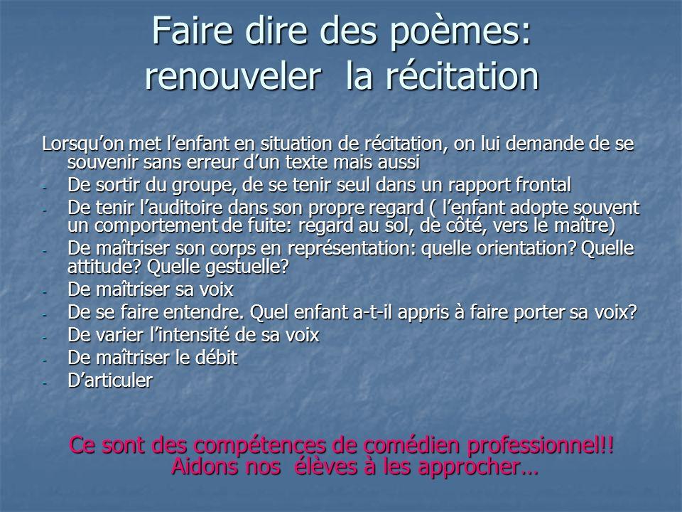 Faire dire des poèmes: renouveler la récitation