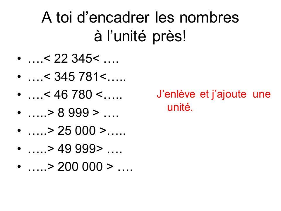 A toi d'encadrer les nombres à l'unité près!