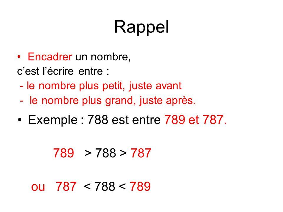 Rappel Exemple : 788 est entre 789 et 787. 789 > 788 > 787