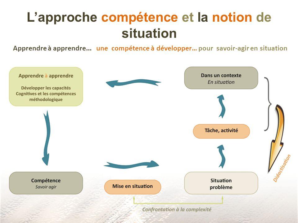 L'approche compétence et la notion de situation