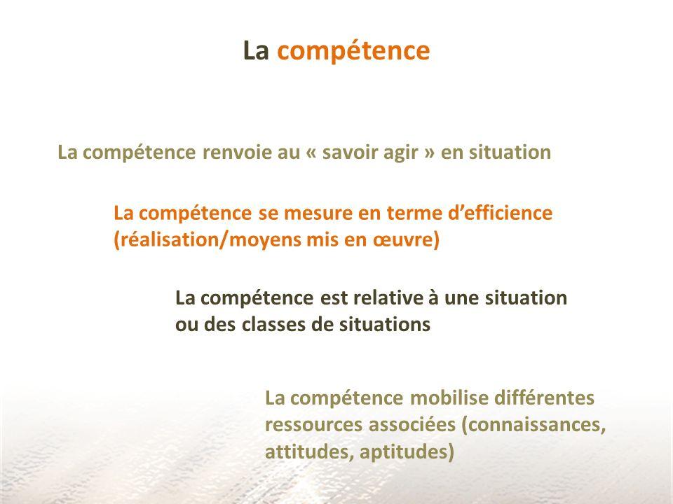 La compétence La compétence renvoie au « savoir agir » en situation