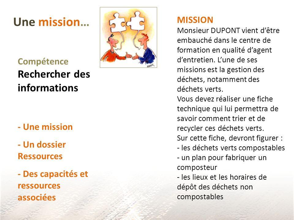 Une mission… MISSION Compétence Rechercher des informations