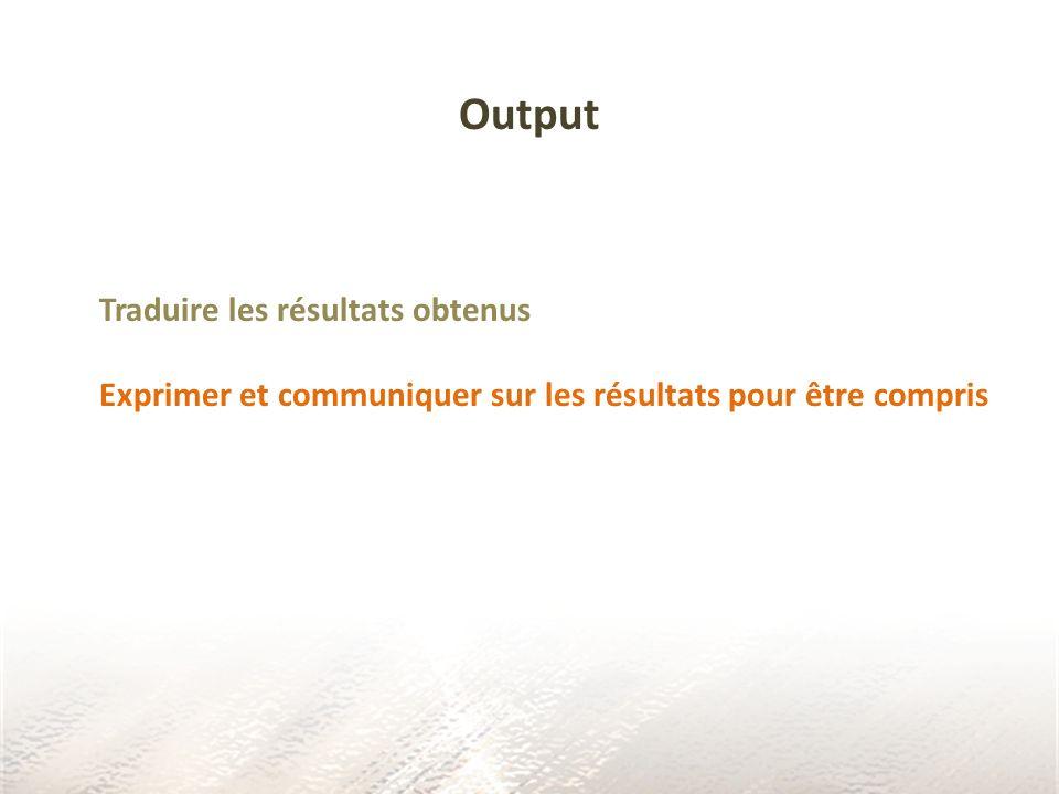 Output Traduire les résultats obtenus
