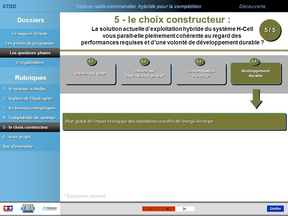5 - le choix constructeur :