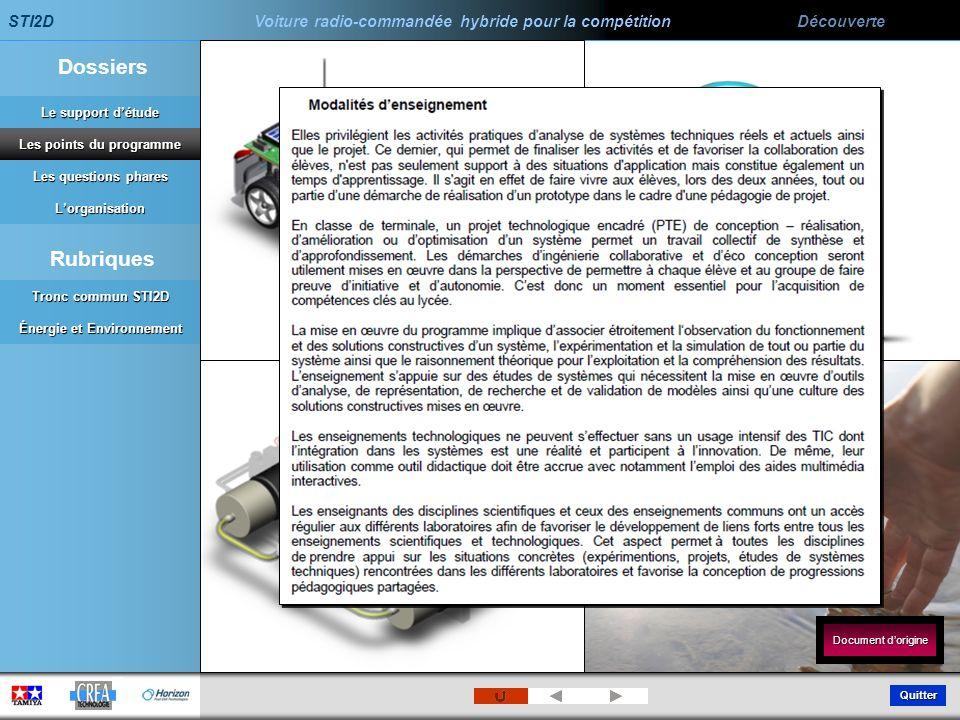 Les points du programme Énergie et Environnement