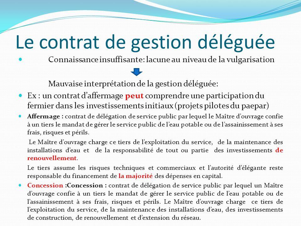 Le contrat de gestion déléguée