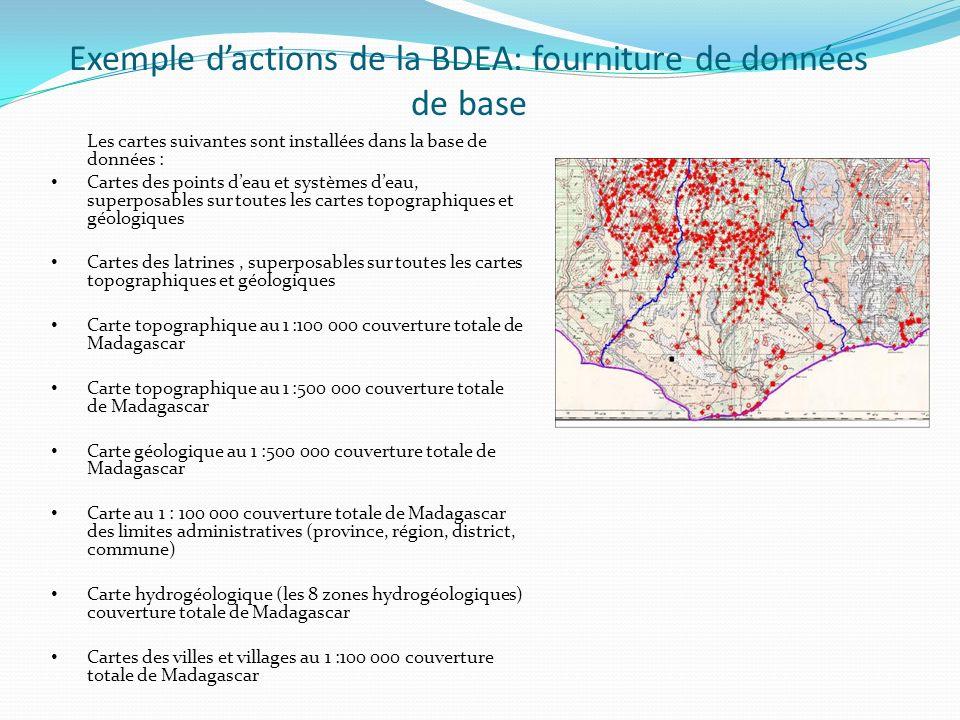 Exemple d'actions de la BDEA: fourniture de données de base