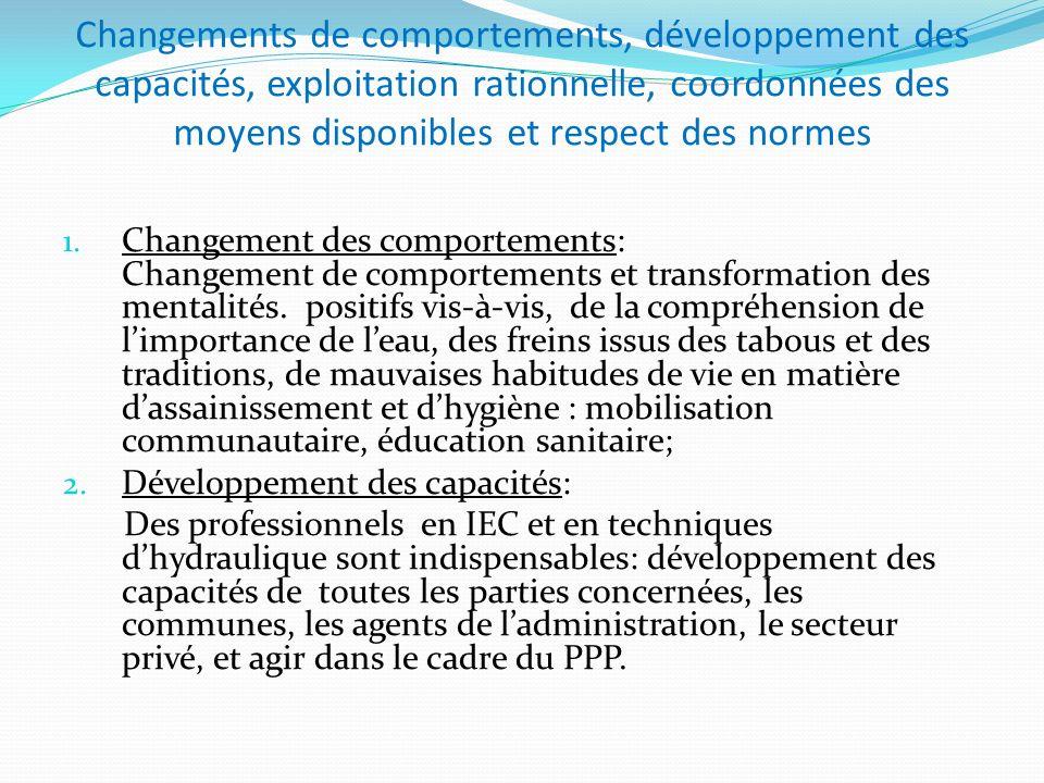 Changements de comportements, développement des capacités, exploitation rationnelle, coordonnées des moyens disponibles et respect des normes