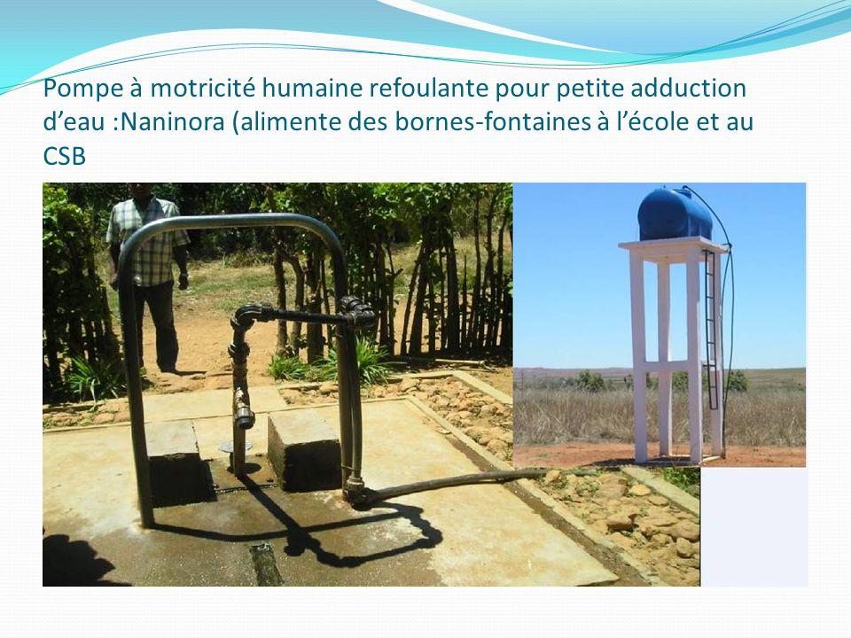 Pompe à motricité humaine refoulante pour petite adduction d'eau :Naninora (alimente des bornes-fontaines à l'école et au CSB