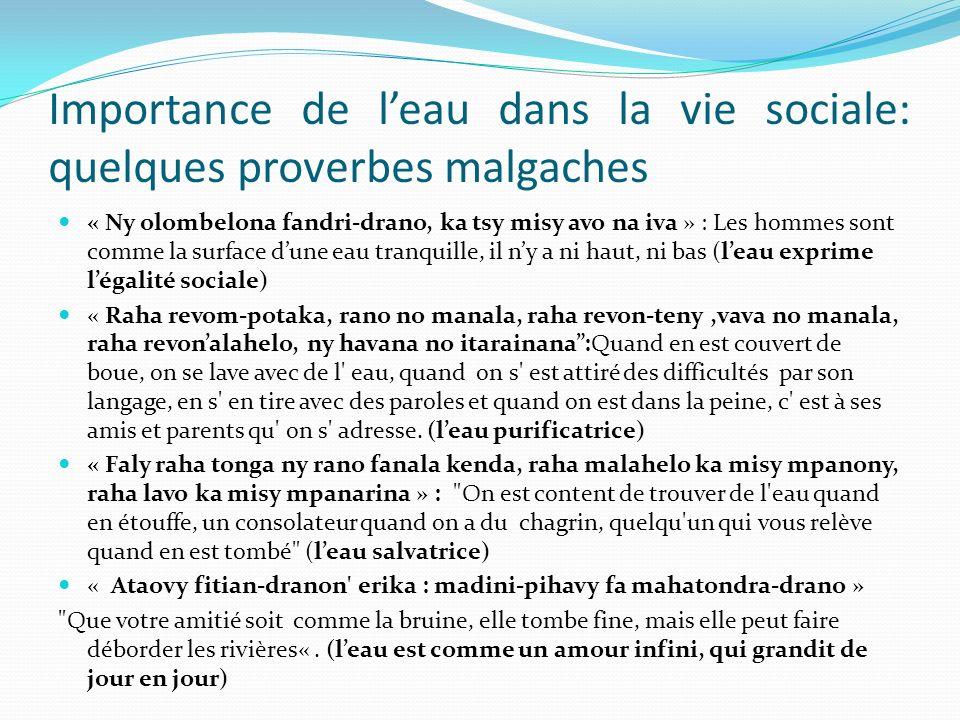 Importance de l'eau dans la vie sociale: quelques proverbes malgaches