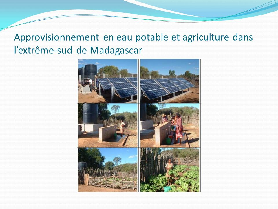 Approvisionnement en eau potable et agriculture dans l'extrême-sud de Madagascar