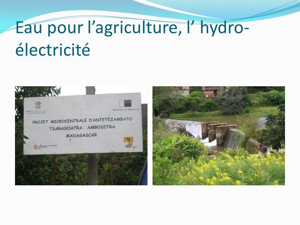 Eau pour l'agriculture, l' hydro-électricité