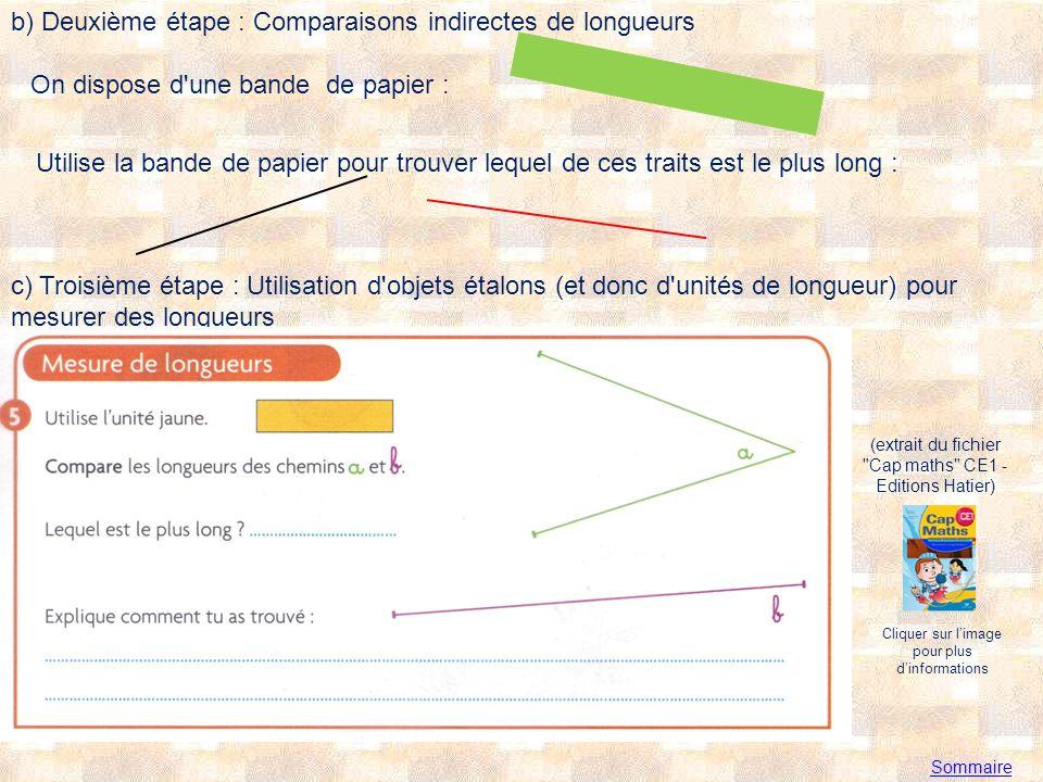 b) Deuxième étape : Comparaisons indirectes de longueurs