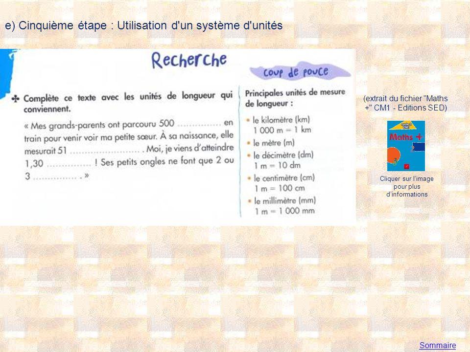 e) Cinquième étape : Utilisation d un système d unités