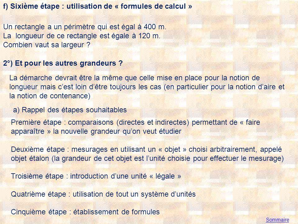 f) Sixième étape : utilisation de « formules de calcul »