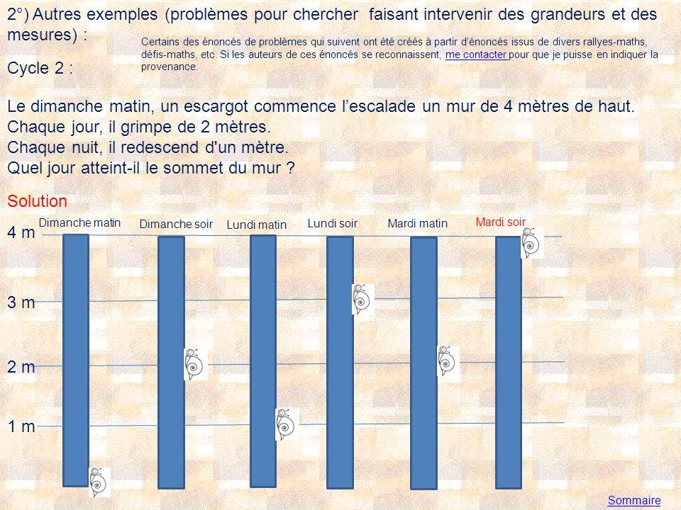 2°) Autres exemples (problèmes pour chercher faisant intervenir des grandeurs et des mesures) :