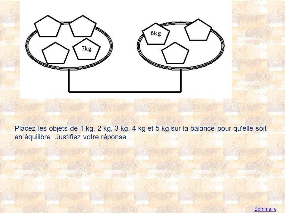 Placez les objets de 1 kg, 2 kg, 3 kg, 4 kg et 5 kg sur la balance pour qu elle soit en équilibre. Justifiez votre réponse.