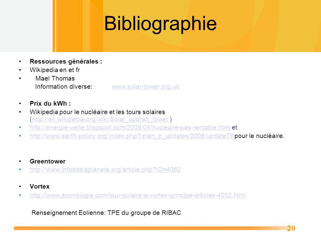 Bibliographie Ressources générales : Wikipedia en et fr • Mael Thomas