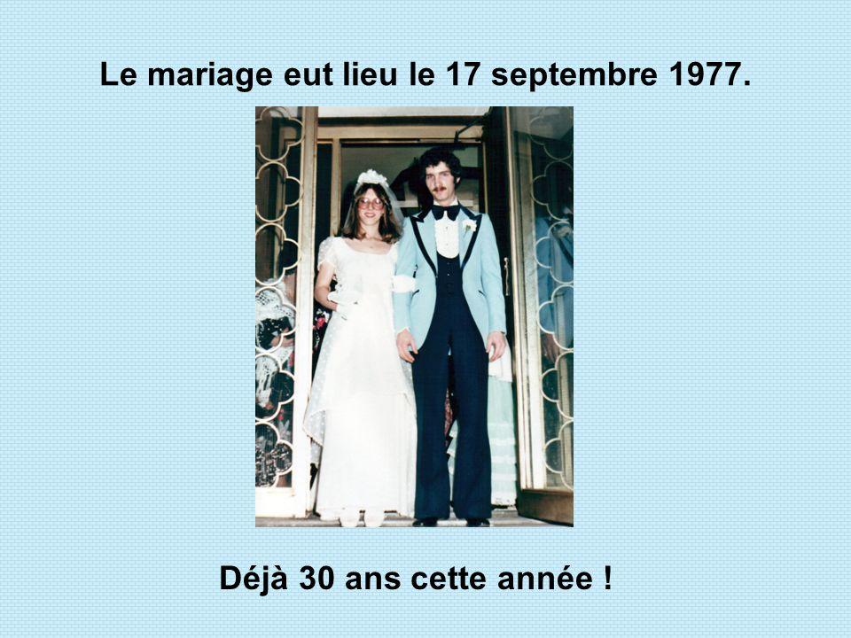 Le mariage eut lieu le 17 septembre 1977.